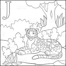 coloring page cartoon animals alphabet j is for jaguar stock
