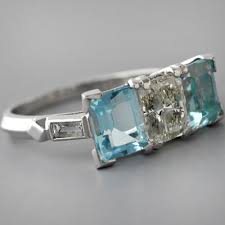 antique aquamarine engagement rings antique aquamarine ring deco aquamarine ring