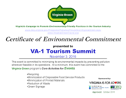 va 1 receives green certification va 1 tourism summit va 1