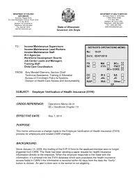 employer verification of health insurance evhi example