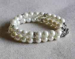 glass pearl bracelet images Double strand pearl etsy jpg