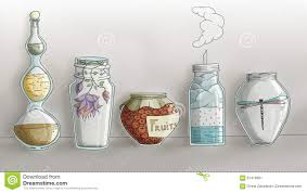 strange magic kitchen jars digital hand drawn stock illustration