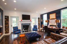 blue and orange dark wood living room design ideas remodels