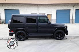 matte black mercedes g class mercedes g55 amg wrapped in satin black white wrap bullys