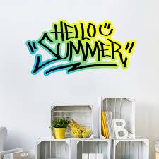 wall decal graffiti hello summer 1 ambiance sticker col sand a033 jpg