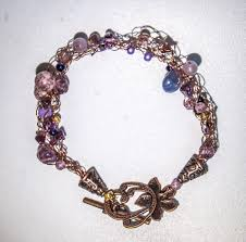 wire crochet shades of lavender beaded antique copper bracelet