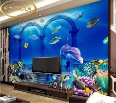 chambre aquarium personnalisé photo papier peint 3d stéréoscopique mer paysage