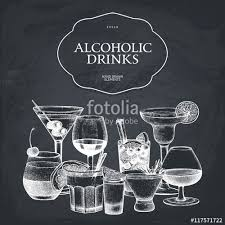 vector design with hand drawn alcoholic cocktails illustration