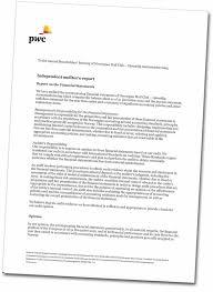 Sample Financial Report Example Financial Audit Report Template Auditors Report General