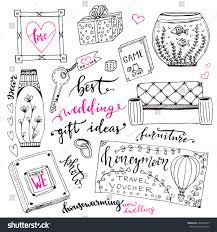 wedding gift list ideas wedding gift ideas set doodle stock vector 436838143