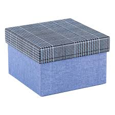 gift box square blue box with plaid lid the container store