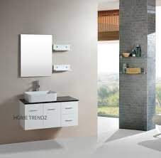 bathroom white floating bathroom vanity set with large mirror