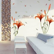wall sticker hatop red lily flower wall stickers removable decal