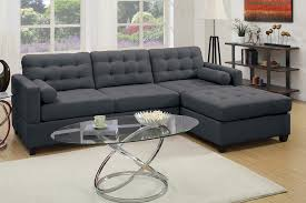 Black Tufted Sofa by Slate Black Polyfiber W Tufting Design Sofa Sectional Chaise