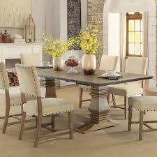veltry weathered double pedestal dining table for 719 94