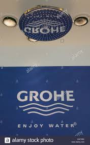 the logo of grohe ag pictured in the bathroom fixtures producer u0027s
