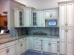 furniture cream wooden floating kitchen cabinet with grey granite
