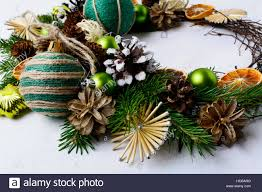 wreath with straw dried oranges and rustic