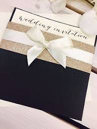 black and gold wedding invitations black gold glitter ribbon caron pocket wedding invitation