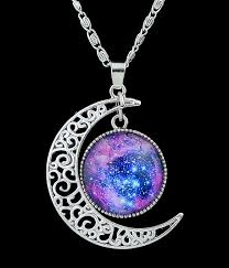 silver purple necklace images Purple gemstone silver hollow moon necklacefor women romwe jpg