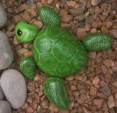 Turtle Planter Turtle Painted On River Rocks I Made This To Sit Next To My