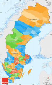 political simple map of sweden single color outside