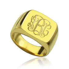 monogram initial ring 18k gold plated fashion monogram initial ring