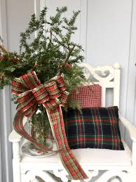 rustic and plaid christmas front porch decor inspiration