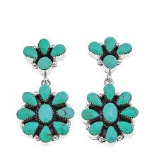 turquoise drop earrings chaco cluster kingman turquoise sterling silver drop
