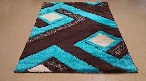 Area Rugs Turquoise Royal Collection Turquoise Blue Brown Contemporary Geometric
