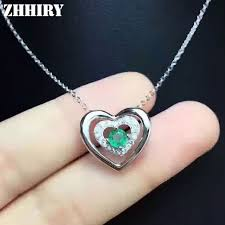 silver emerald necklace images Buy zhhiry natural emerald necklace pendant jpg