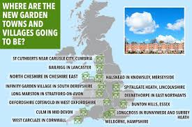 map uk villages where will the new garden villages be ministers give green