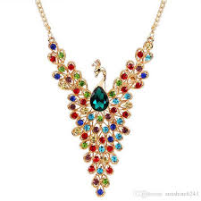 color diamond necklace images 2017 new luxury gold color peacock design multicolor created jpg