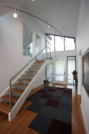 Glass Stair Handrail Stair Railing Ideas Staircase Modern With Glass Railing Black And