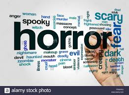 horror word cloud concept with fear scary related tags stock photo