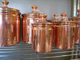 vintage kitchen copper canister set of 6 décor
