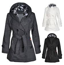 new womens hooded belted fleece button coat la s check hood