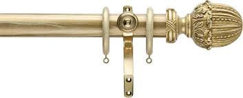 Cream Wooden Curtain Poles Buy Regency Ambassador Brass Bracket 35mm Cream Gold Effect Wood