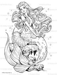 mermaid coloring pages adults cecilymae