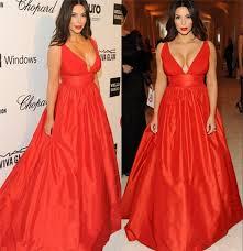 kim kardashian red carpet celebrity evening dresses 2016 a line v