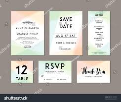 Wedding Invitations With Menu Cards Modern Wedding Set Template Modern Design Stock Vector 441767530
