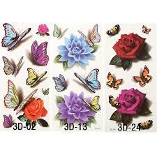 6 pcs 3d butterfly tattoos small waterproof