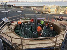 Pedestal Installation First Pieces Of New York Wheel Are Installed On Staten Island