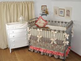 Vintage Floral Crib Bedding Leopard Print And Floral Crib Bedding With Pink Silk Ruffles
