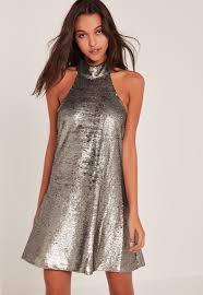 silver high neck halter sequin swing dress missguided ireland
