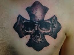 skull in maltese cross tattooimages biz