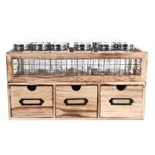 console 3 tiroirs meuble 3 tiroirs 1 etagère de pots à épices u2013campagne bois
