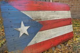 Puertorican Flag Rustic Puerto Rico Flag Reclaimed Wood Pallet Wood