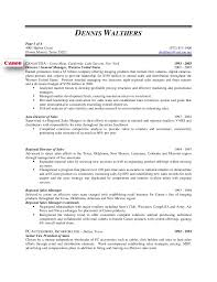 Sample Resume For Regional Sales Manager by Dennis Walthers Vp Sales Resume