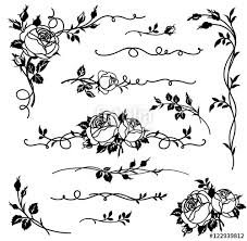 set of vector calligraphic elements for page decor floral